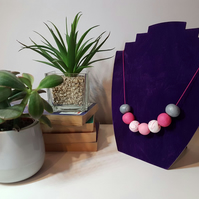 """Sugar Free"" Geometric modern round beaded necklace - Hot pink marbled, silver"