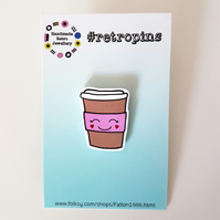 Retropins - Kawaii coffee cup shrink plastic pin
