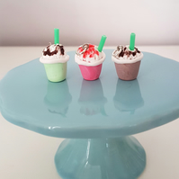 Frappuccino coffee necklace OR keyring CHOOSE Chocolate, strawberry, mint