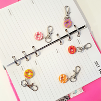 Set of Party Ring biscuit planner charms, stitch markers,bag charms, handmade