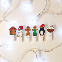 Christmas peg place name collection, set of six
