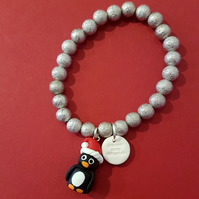 Christmas Penguin bracelet quirky, unique, handmade