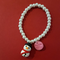 Christmas Snowman bracelet quirky, unique, handmade