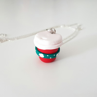 Christmas festive coffee cup necklace, Quirky, unique, fun