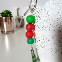 """Sugar Free"" Geometric modern round beaded Keyring - Red Watermelon"
