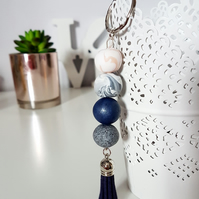 """Sugar Free"" Geometric modern round beaded Keyring - Navy, peach, grey, white"