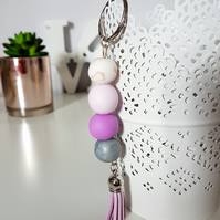 """Sugar Free"" Geometric modern round beaded Keyring - Lilac, grey, peach, white"