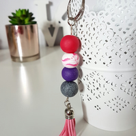 """Sugar Free"" Geometric modern round beaded Keyring - pink, purple, grey, white"