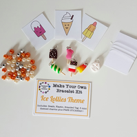 Make your own retro food themed bracelet kit ICE LOLLIES THEME!