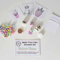 Make your own retro food themed bracelet kit UNICORN THEME!