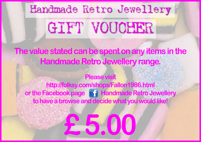 Handmade Retro Jewellery GIFT VOUCHER choose your value