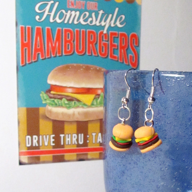 Retro Cheeseburger earrings STUD, DROP or CLIP ON, unique, handmade novel