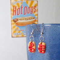 Retro Hotdog with ketchup or mustard earrings STUD, DROP or CLIP ON, handmade