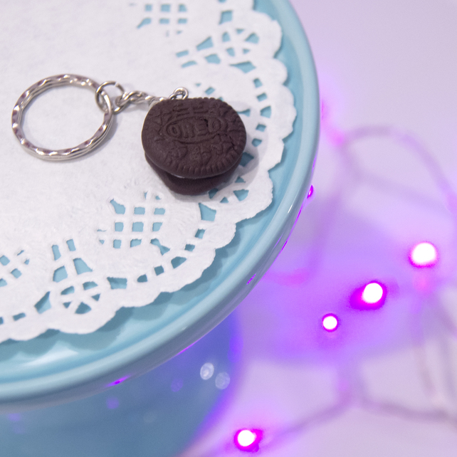 Retro Oreo Cookie biscuit Keyring OR necklace, Quirky, fun, unique, handmade