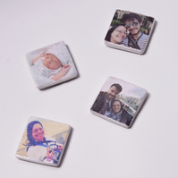 Clay photo tile magnets, decoration, trinket, magnet, personalised