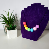 """Sugar Free"" Geometric modern round beaded necklace - Rainbow colours"