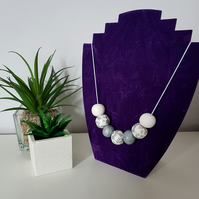 """Sugar Free"" Geometric modern round beaded necklace - White, Grey, Silver leaf"