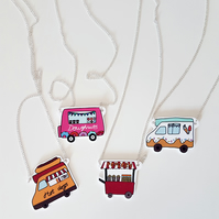 Food Van themed necklace, unique, plastic, hand drawn