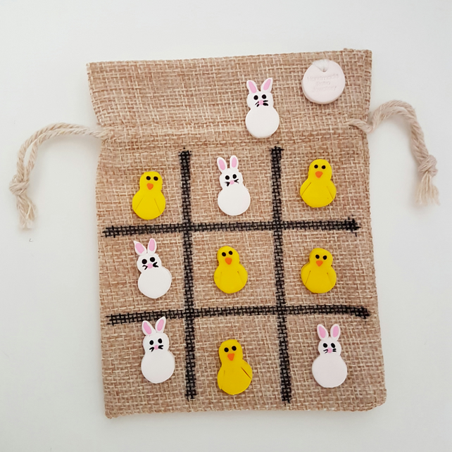 Retro Easter themed tic tac toe Chicks and Rabbits