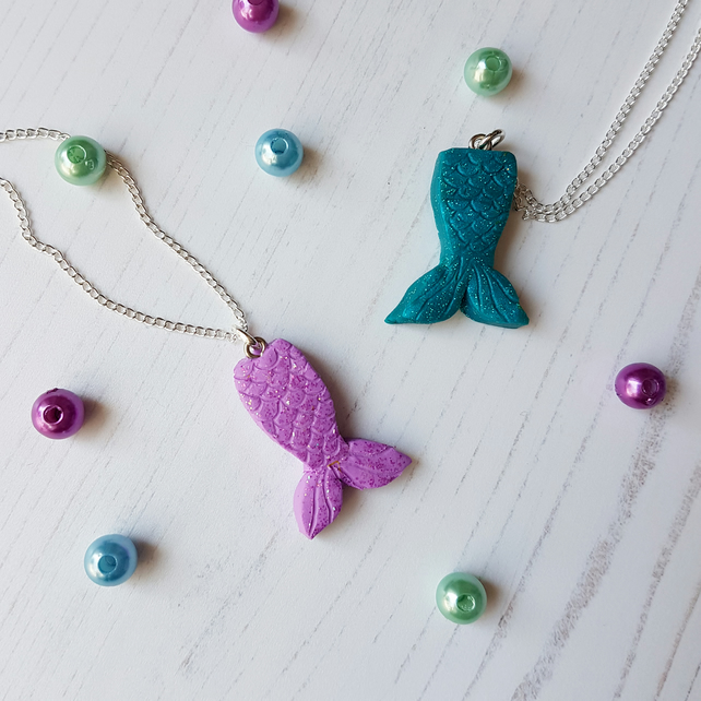 Mermaid Tail Pendant Necklace, glitter, handmade, polymer clay, gloss