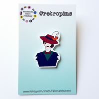 Retropins - Mary Poppins nanny shrink plastic pin