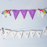 Clay name bunting with characters, hand stamped, hand painted