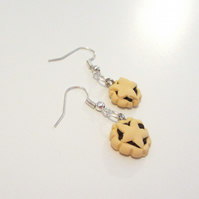 Christmas retro Mince Pie earrings (quirky, fun, handmade, novel)