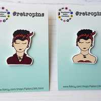 Retropins - Vintage style Retro lady shrink plastic pin ONE supplied