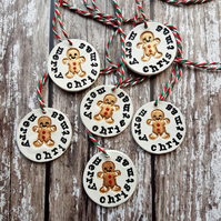 Christmas theme clay tags, decorations, Homeware, gift