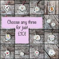 Any three small size tags for GBP10.00, decoration, homeware, gift