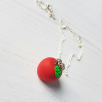 Red Apple Charm Necklace, handmade, polymer clay, Teacher Gift