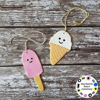 Ice Cream or Ice Lolly Hanging Decoration, Hand painted, Handmade