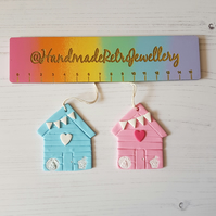 Retro Beach Hut Hanging Decoration, Hand painted, Handmade