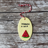 """Summer Vibes"" Watermelon hanging decoration, Hand painted, Handmade"