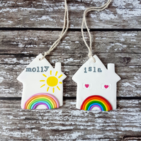 Personalised Rainbow House hanging decoration OR Magnet, Hand painted, Handmade
