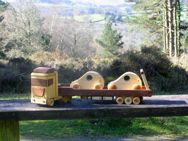 "Wooden toy articulated  ""LOW LOADER""  with Funny Cars. Haulage Memorials Display"