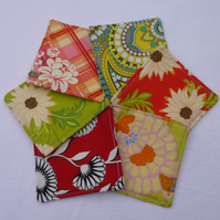 Funky Fabric Coasters - set of 6