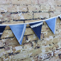 Denim and Lace Bunting Reversing to Shabby Chic Vintage - Recycled