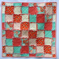 Sale - Quilt Patchwork - Blanket - Lap Quilt - Red and Aqua - Lovebirds