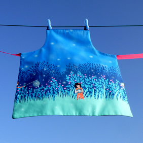 Girls Reversible Apron - Catching Butterflies and Fireflies - Pink and Blue