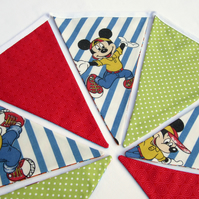 Bunting with Vintage Cartoon Fabric - Red White and Blue