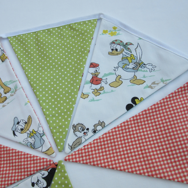 Reversible Bunting made with Vintage Cartoon and Rocket Fabric