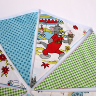 Bunting made with Vintage Cartoon Fabric - Reversible