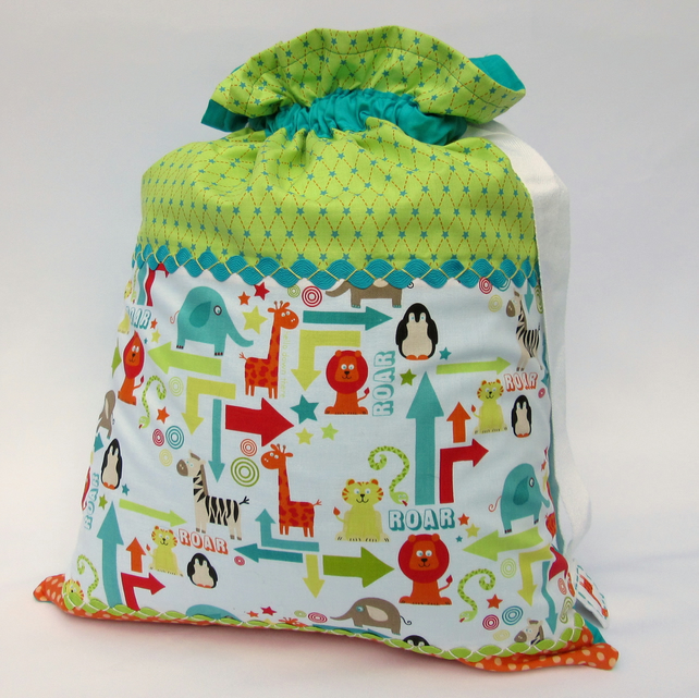 Sale - Boy Storage or Laundry Bag - Hotchpotch Sack - Zoo
