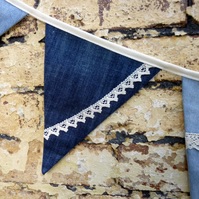 Denim and Lace Bunting Reversing to Shabby Chic Vintage Pastels - Recycled