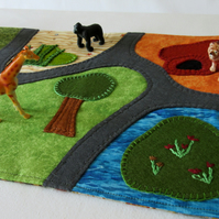 Zoo Travel Play Mat - Safari Zoo Play On The Go Play Scene