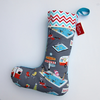 Christmas Stocking - Personalised - Retro Santa on Holiday