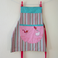 Girls Reversible Apron - Mermaids and Nutcracker Soldiers - Pastel and Hot Pink