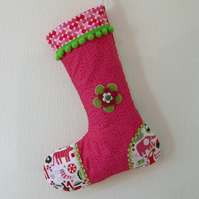 SALE -  Large Quilted Christmas Stocking - Pink Zoo Flower Applique
