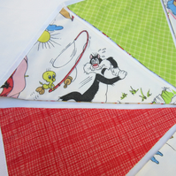 Reversible Bunting with Vintage Cartoon Fabric
